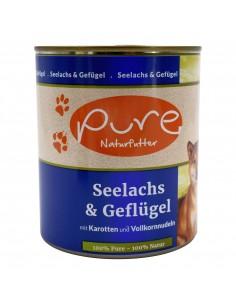 Hundemenü Seelachs & Geflügel 800g mit Hirse & Karotten