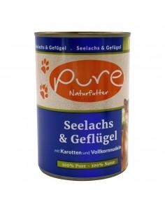 Hundemenü Seelachs & Geflügel 400g mit Hirse & Karotten