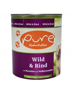 Hundemenü Wild & Rind 800g mit Karotten und Vollkornnudeln